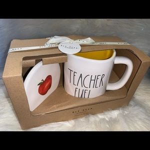 Rae Dunn Teacher Fuel Mug Coaster Gift Set New